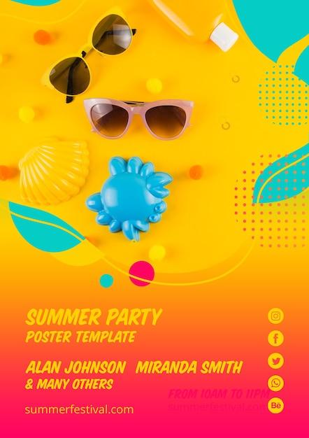 カラフルな夏のパーティーポスターテンプレート 無料 Psd