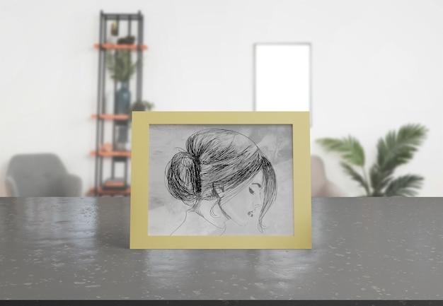 Декоративная рамка-макет на столе в домашних условиях Бесплатные Psd