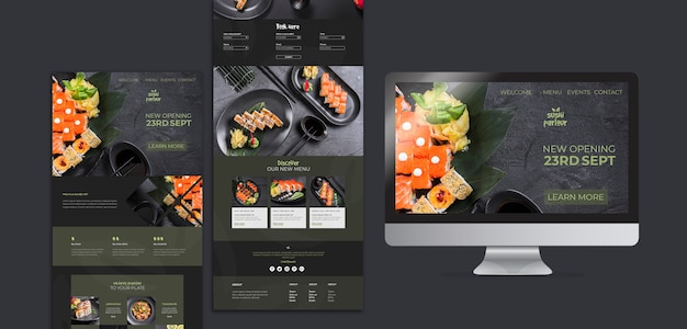 Шаблон сайта для японского ресторана Бесплатные Psd