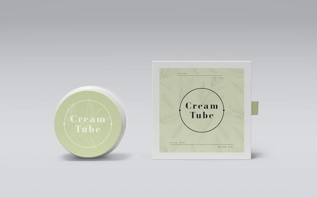 Зеленая упаковка косметических продуктов Бесплатные Psd
