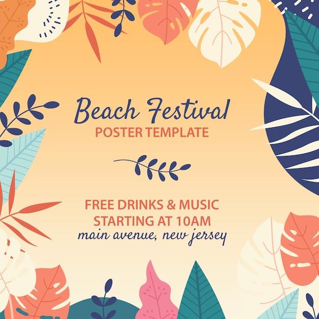手描きのビーチフェスティバルのテンプレート 無料 Psd