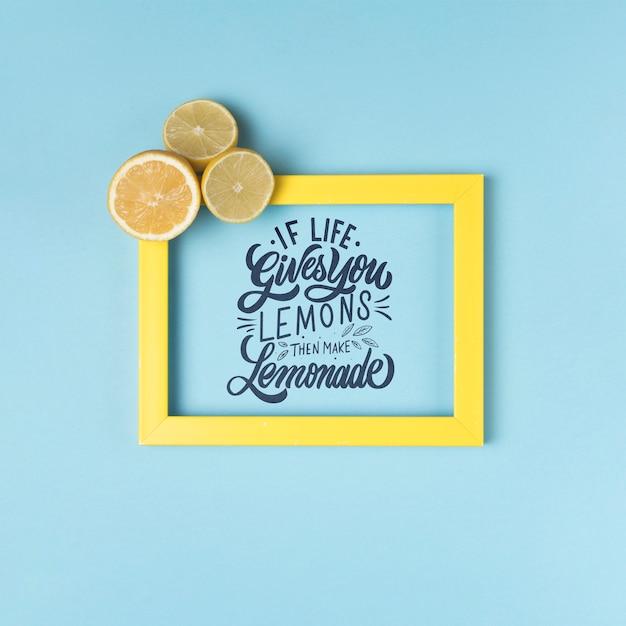 Если жизнь дает вам лимоны, тогда приготовьте лимонад. вдохновляющие и мотивационные надписи цитата Бесплатные Psd