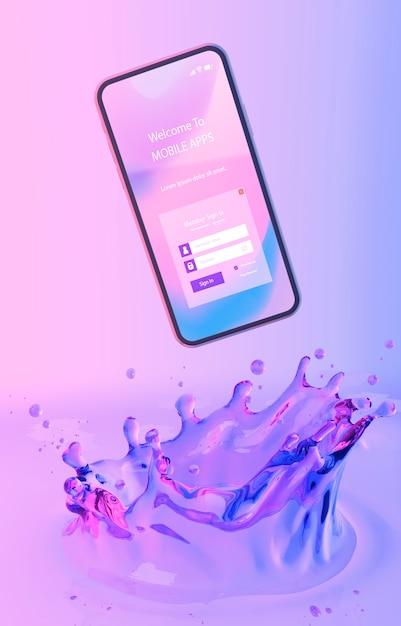 Смартфон со страницей входа и красочным жидким фоном Бесплатные Psd