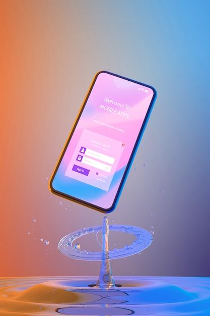 ログインページとカラフルな液体の背景を持つスマートフォン 無料 Psd