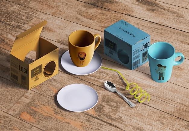 紅茶やコーヒー製品の包装モックアップ 無料 Psd