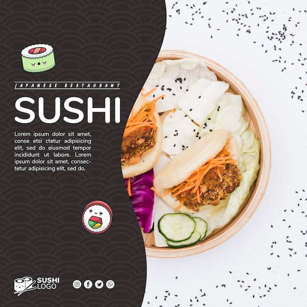 Азиатский суши-ресторан квадратный баннер шаблон Бесплатные Psd
