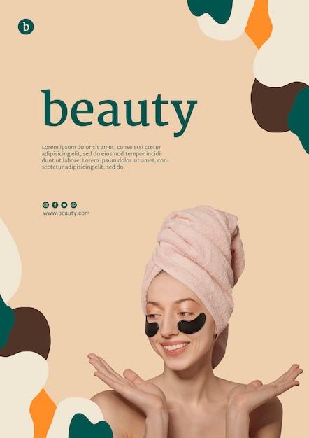 Шаблон постера красоты с женщиной Бесплатные Psd