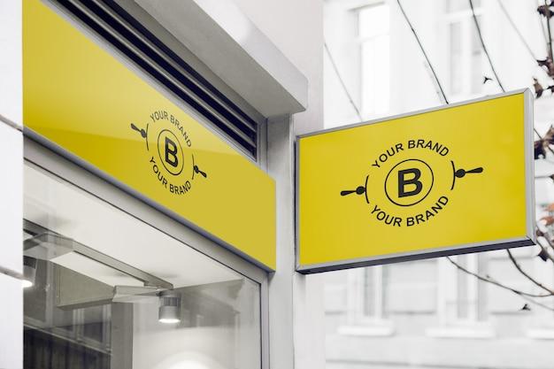 Макет логотипа на фасаде или витрине Бесплатные Psd