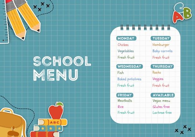 Шаблон меню школьной столовой Бесплатные Psd