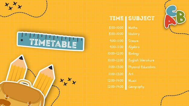 学校のテンプレートの黄色の時刻表 無料 Psd