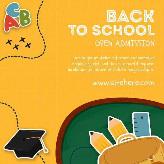Творческое объявление для открытого приема в школьном шаблоне Бесплатные Psd