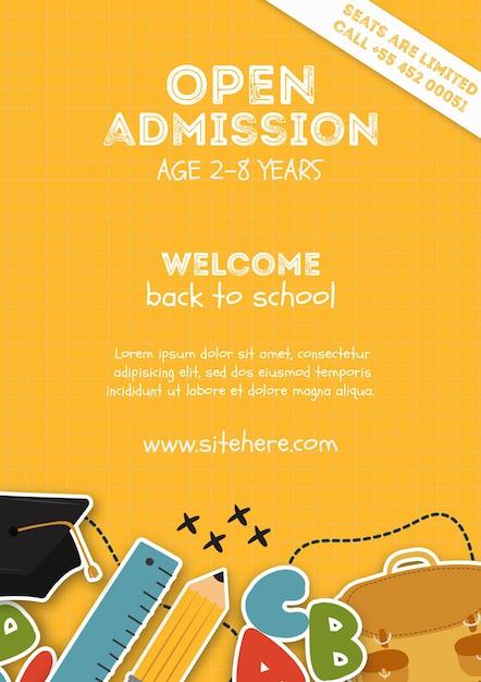 Желтый шаблон плаката для открытого приема в школе Бесплатные Psd