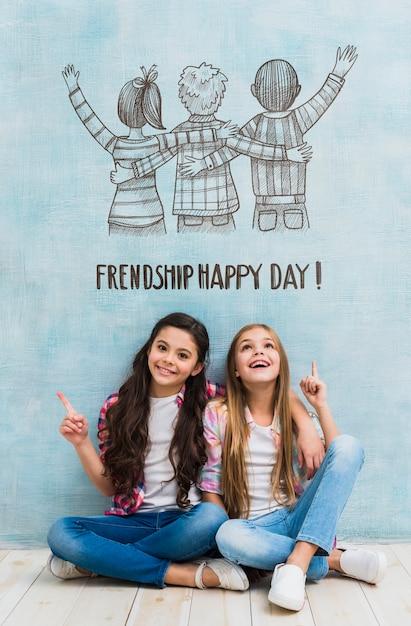 Девочки на день дружбы макет Бесплатные Psd