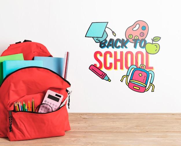 Рюкзак спереди со школьными принадлежностями Бесплатные Psd