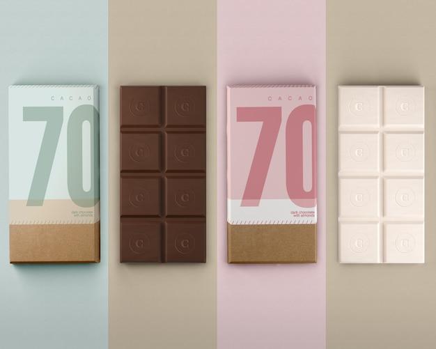 チョコレートモックアップ用の紙包装 無料 Psd