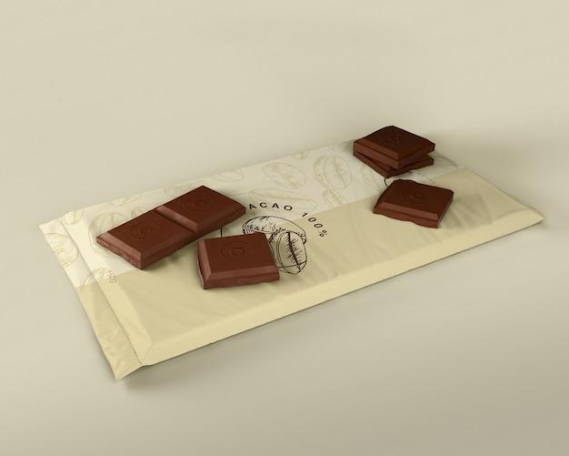 チョコレートタブレットプラスチック包装デザイン 無料 Psd