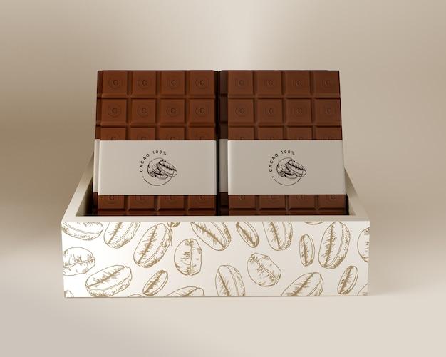 チョコレートボックスと紙の包装デザイン 無料 Psd