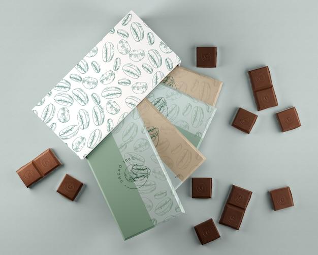 チョコレートデザインの箱と包装紙 無料 Psd