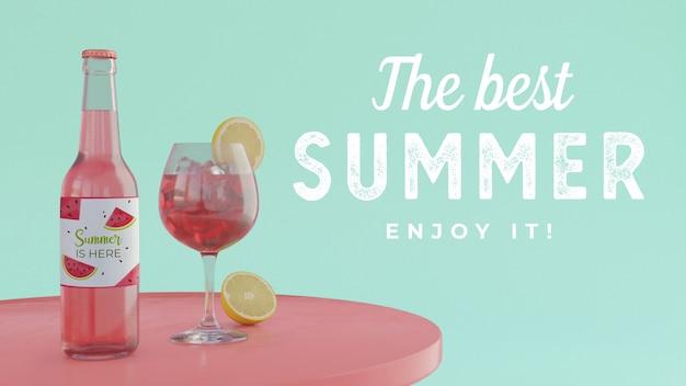 タイポグラフィーとテーブルの上の夏の飲み物 無料 Psd