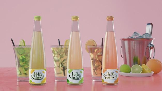 ピンクの背景とカラフルなソーダの瓶 無料 Psd
