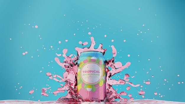 Сода может с разбрызгиванием сока Бесплатные Psd