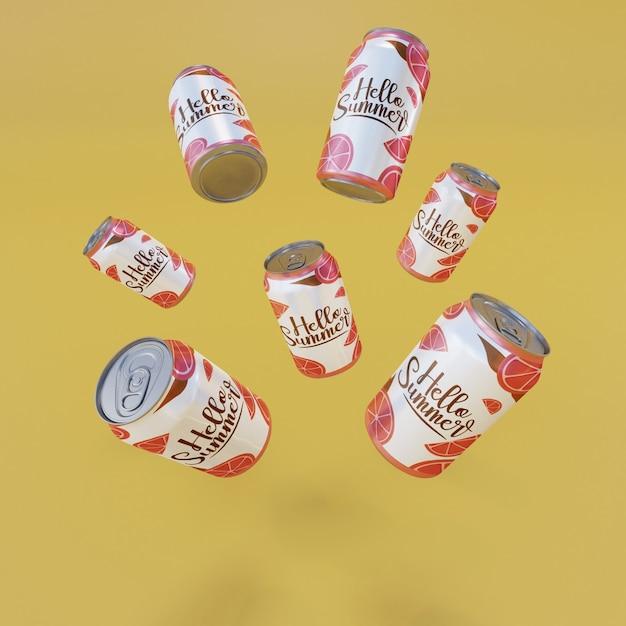 黄色の背景を持つフローティングフルーツソーダ缶 無料 Psd