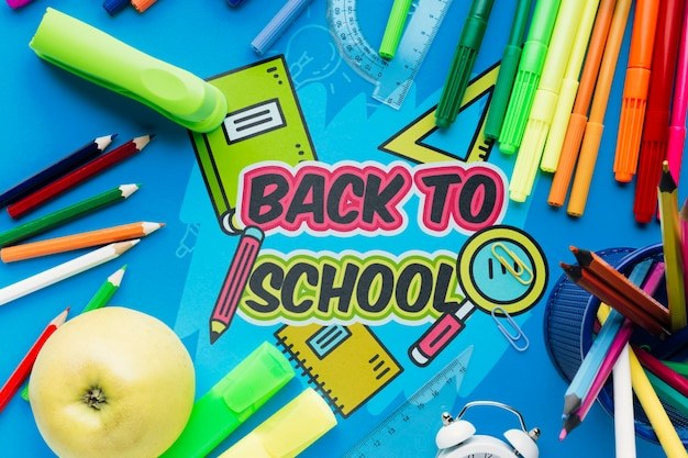 Вид сверху обратно в школу с синим фоном Бесплатные Psd