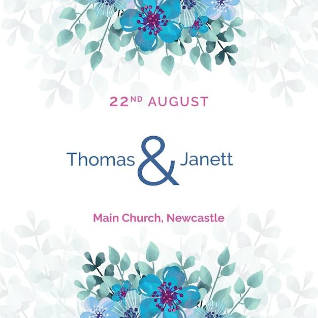 青い花のテンプレートと白い結婚式招待状 無料 Psd