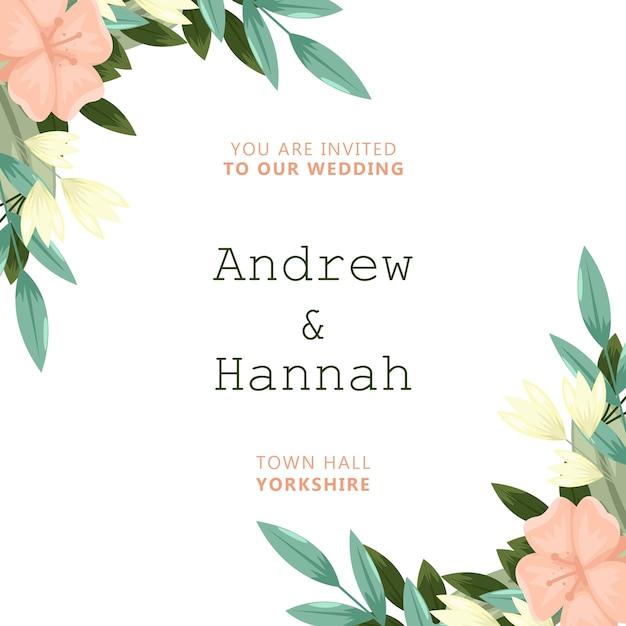 ピンクの花を持つエレガントな結婚式の招待状 無料 Psd