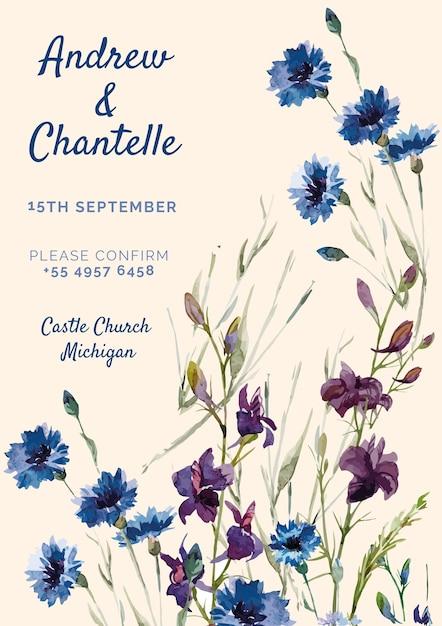 青と紫の塗られた花とピンクの結婚式の招待状 無料 Psd