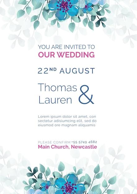 青い花のテンプレートと美しい結婚式の招待状 無料 Psd
