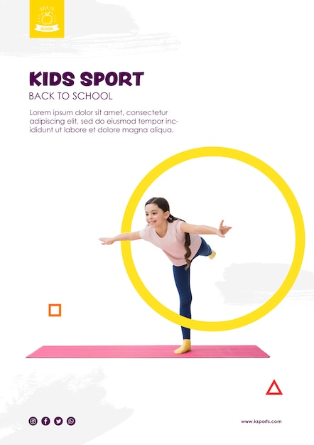 Девочка балансирует для детей спортивный шаблон Бесплатные Psd