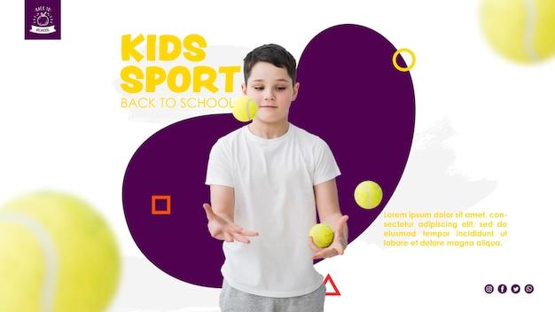 テニスボールとジャグリング少年 無料 Psd