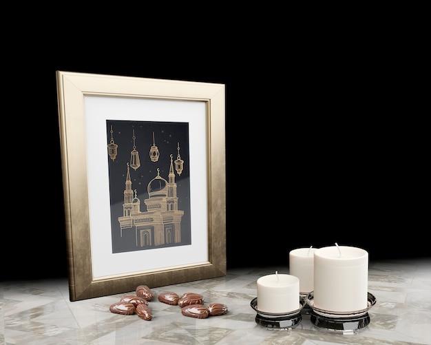 黒い背景とイスラムの新年装飾 無料 Psd