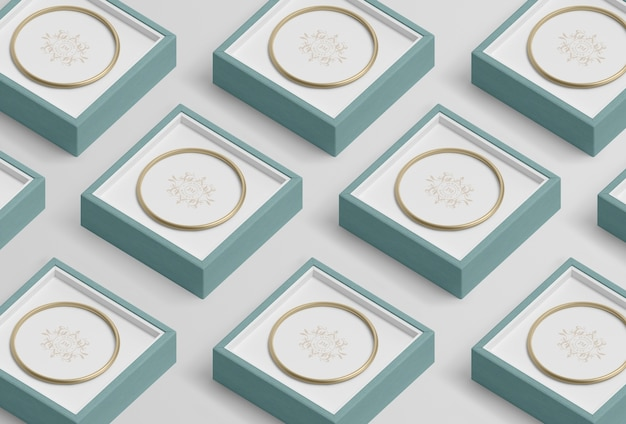 Композиция из синих ювелирных подарочных коробок Бесплатные Psd