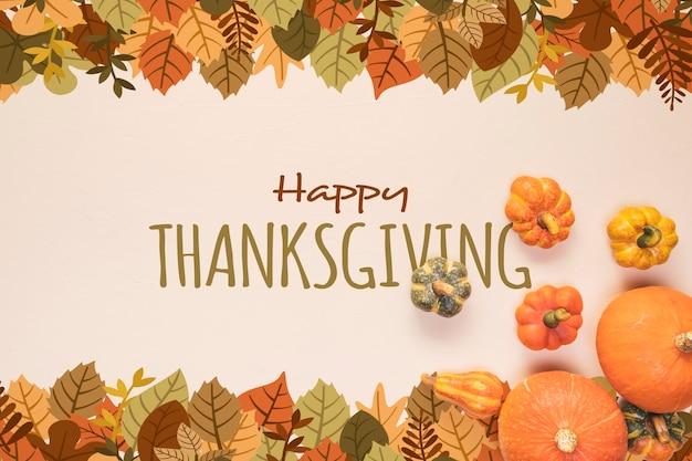 乾燥した葉で幸せな感謝祭の日 無料 Psd
