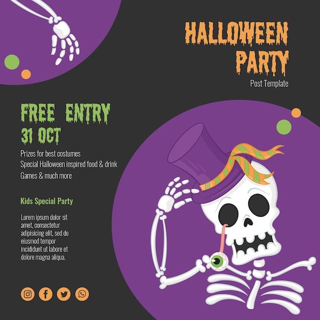 Страшное событие хэллоуина со скелетом Бесплатные Psd