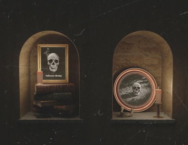 地下室の頭蓋骨と美しいモックアップフレーム 無料 Psd