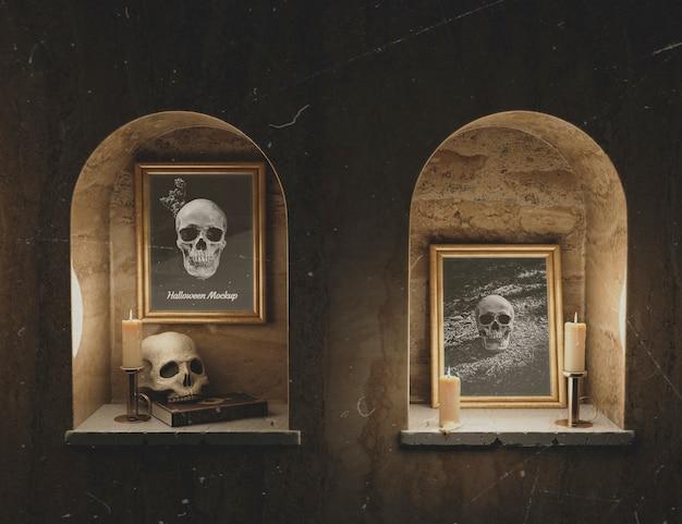 モックアップフレームのゴシックホラースカルの肖像画 無料 Psd
