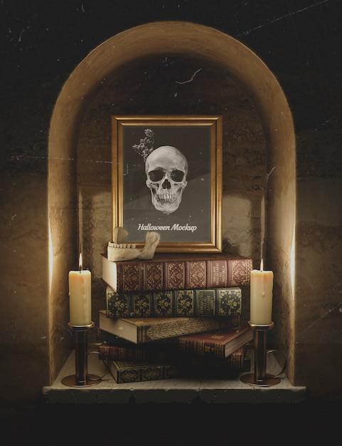 頭蓋骨と本の山と正面のモックアップフレーム 無料 Psd