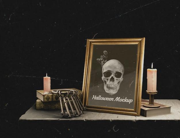 頭蓋骨とハロウィーンモックアップフレーム 無料 Psd