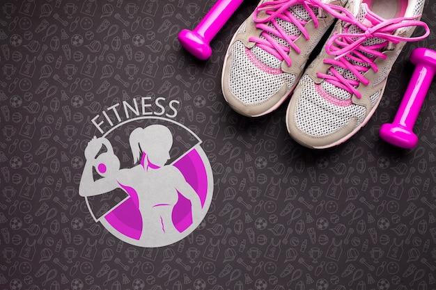 Фитнес-класс обуви и весов Бесплатные Psd