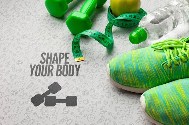 Фитнес-класс обуви и бутылки с водой Бесплатные Psd