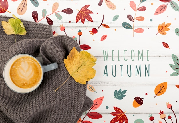 Осенний вид и приветственное сообщение Бесплатные Psd