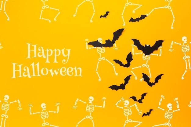 Летучие мыши и скелеты рисуют в день хэллоуина Бесплатные Psd
