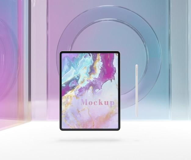 Прозрачное стекло с планшетным устройством Бесплатные Psd