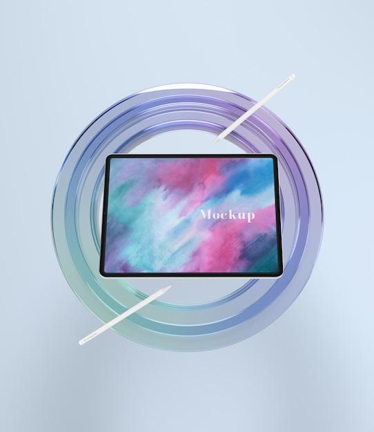 タブレットデバイス用の円形ガラスのサポート 無料 Psd