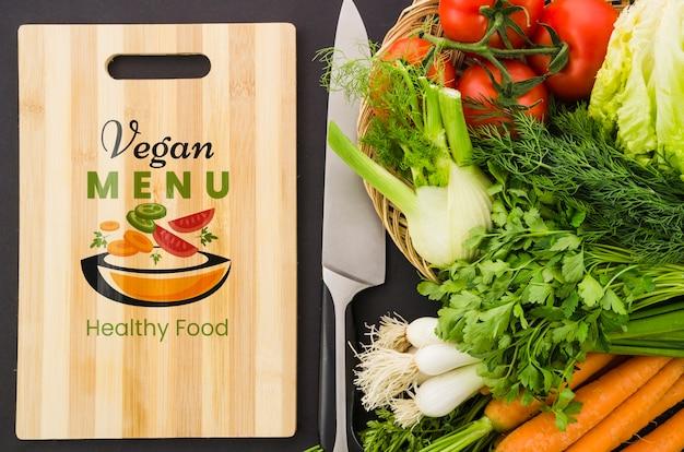 新鮮な野菜のビーガンメニュー 無料 Psd