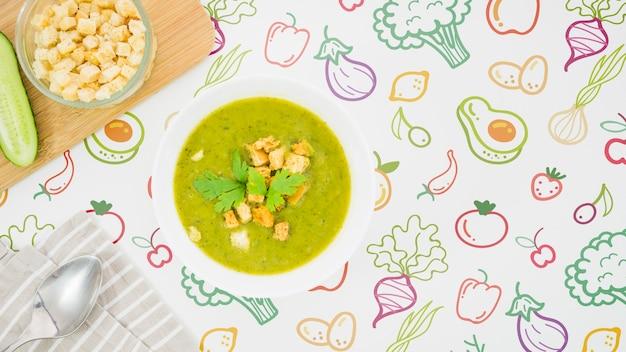 クルトン入りの栄養たっぷりのスープ 無料 Psd