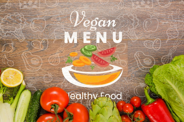 Свежие овощи с веганским меню Бесплатные Psd